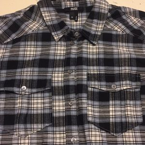 Paige blue and white flannel shirt XS perfect
